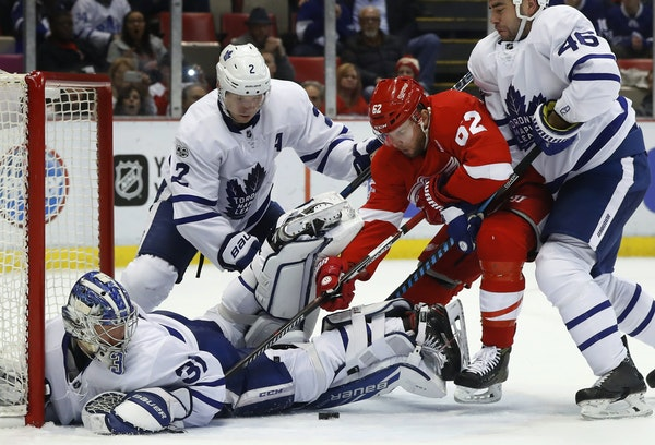 """Thomas Vanek, crashing the net against Toronto in January, leads the Red Wings with 14 goals. """"I still believed in myself that I can play this game,"""
