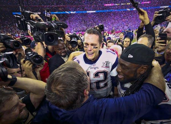 Game MVP Tom Brady, coach Bill Belichick and veteran running back LeGarrette Blount reveled in the aftermath of winning Super Bowl LI in overtime, a v