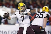 """Former Gophers quarterback Mitch Leidner will be a """"throwing quarterback"""" at the NFL combine, working with players."""