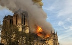 This photo taken on April 15, 2019 shows Notre Dame cathedral burning in Paris.