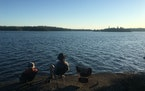 A campsite on Tuscarora Lake looks toward the island where tragedy struck.