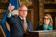 Gov. Tim Walz and Lt. Gov. Flanagan held a press conference to announce major energy and climate policy initiatives on March 4, 2019. Walz first annou