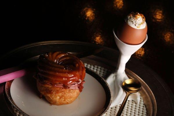 Chicken Liver filled Paris Brest with Black Honey Glaze and Foie Gras Royale with Crème Gitanes. The Grand Cafe has closed its south Minneapolis loca