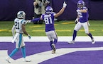 Vikings receiver Chad Beebe celebrated with Bisi Johnson after catching a touchdown pass in the fourth quarter.