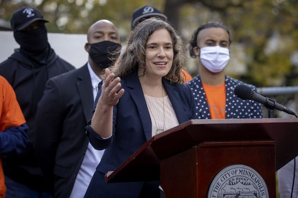 Minneapolis City Council President Lisa Bender, shown in October. Bender was one of three council members to unveil a plan Friday to cut nearly $8 mil