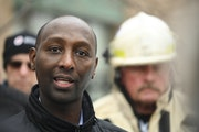 Rep. Mohamud Noor, DFL-Minneapolis, pictured after the fatal November 2019 fire, plans to renew efforts to require property owners to add sprinklers t