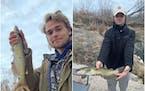 Luke Konson, left, and Daniel Balserak held an example of the Iowa state fish, the channel catfish