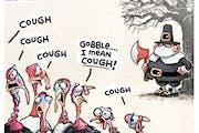 Sack cartoon: Cough, gobble, cough