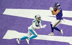 Minnesota Vikings wide receiver Chad Beebe (12) caught the game winning touchdown with under a minute to play over the head of Carolina Panthers corne