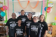 The newly expanded Dubra family of Brooklyn Park celebrated last week as the judge finalized four adoptions. Photo courtesy of the Dubra family ORG XM