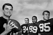 September 1, 1965: Gophers quarterback John Hankinson (left), with three of his top receivers.