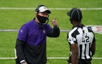 Minnesota Vikings head coach Mike Zimmer tied to draw the pass interference call as he pointed to the replay in the second quarter. ] ANTHONY SOUFFLE