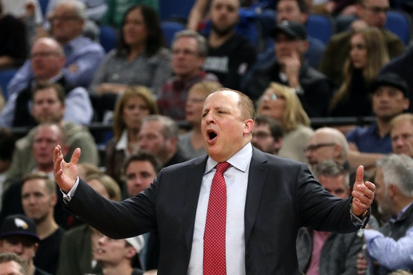 Minnesota Timberwolves head coach Tom Thibodeau reacted to a missed shot during the second half. ] ANTHONY SOUFFLE � anthony.souffle@startribune.com
