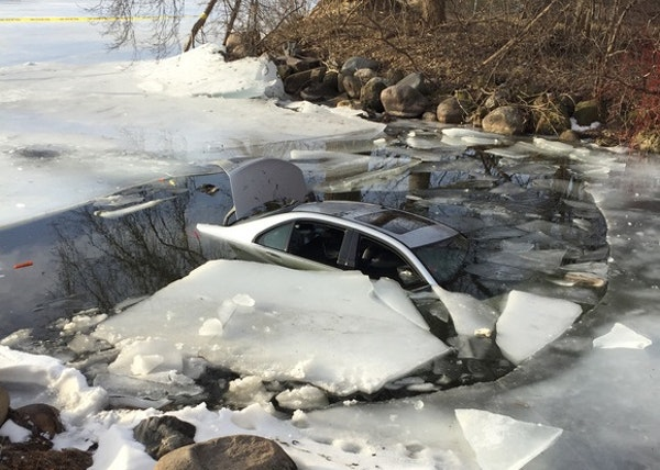 No one was hurt when a car plunged into Wayzata Bay on Saturday.