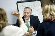 """""""We don't need a level of governance to make this work,"""" said Edina Superintendent Ric Dressen, shown during training with teachers. """"We can m"""