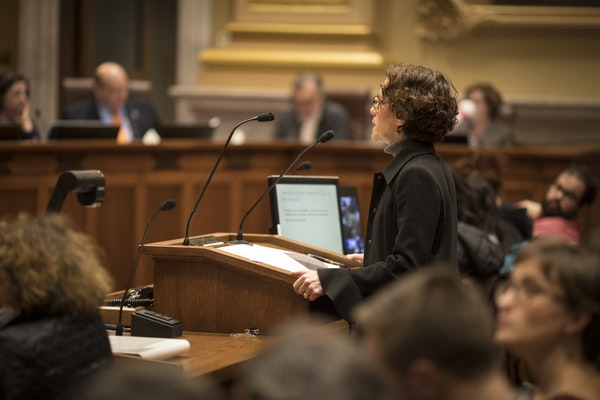 City Attorney Susan Segal spoke in front of the council members at a Minneapolis City Council meeting in Minneapolis, Minn., on Tuesday, February 7, 2