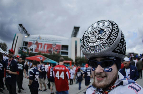 A fan posed for a photo before Super Bowl LI between the New England Patriots and the Atlanta Falcons on Sunday.