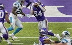 Minnesota Vikings linebacker Eric Kendricks (54) intercepted a pass from Carolina Panthers quarterback Teddy Bridgewater (5) in the second quarter.