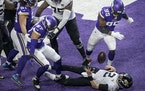 Jacksonville Jaguars quarterback Mike Glennon (2) fumble the ball in the end zone after his was sacked for a safety by Minnesota Vikings defensive end