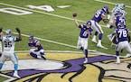 Vikings quarterback Kirk Cousins (8) threw a pass during the game-winning drive.