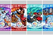 The 2021 buttons encompassing the Winter Carnival logo feature colorful winter designs by Minneapolis artist, muralist and screen painter Adam Turman.