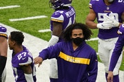 Vikings linebacker Eric Kendricks hung out on the sideline after he aggravated a calf injury during pregame warmups.