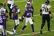 Vikings cornerback Cameron Dantzler celebrated after he recovered a fumble by Jacksonville receiver Chris Conley in the fourth quarter.