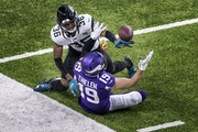 Jacksonville cornerback Luq Barcoo tipped the ball away from Vikings receiver Adam Thielen in the fourth quarter.