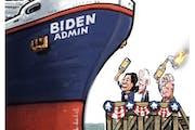 Sack cartoon: Biden's launch party