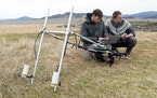 Archaeologist Gino Caspari, right, conducted a geophysical survey of a royal Scythian tomb in Siberia in 2018.