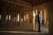 Realtor Jim Schwarz in one of the townhomes under construction in his Sheldon Place development in Eden Prairie.