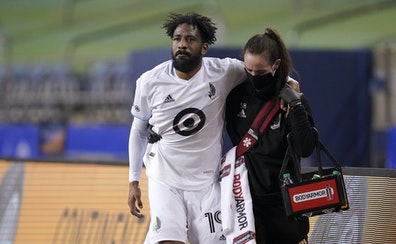 Minnesota United's Romain Metanire was helped from the pitch Monday night after being injured in the first half. He did not return. Minnesota United