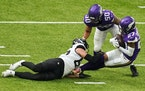 The Vikings' Cameron Dantzler (27) was the first cornerback to record an interception this season in Sunday's win over the Jaguars.