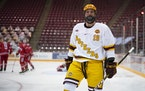 Scott Reedy, shown earlier this season against Ohio State, leads the Gophers with five goals this season.