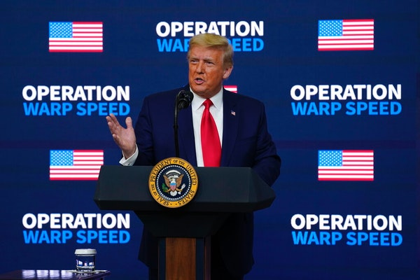 "President Donald Trump speaks during an ""Operation Warp Speed Vaccine Summit"" on the White House complex, Tuesday, Dec. 8, 2020, in Washington. (A"
