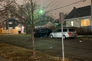 A stolen Toyota Camry crashed at Rose and Sylvan, where it struck a light pole and flipped on its side, on St. Paul's North End on Monday night.