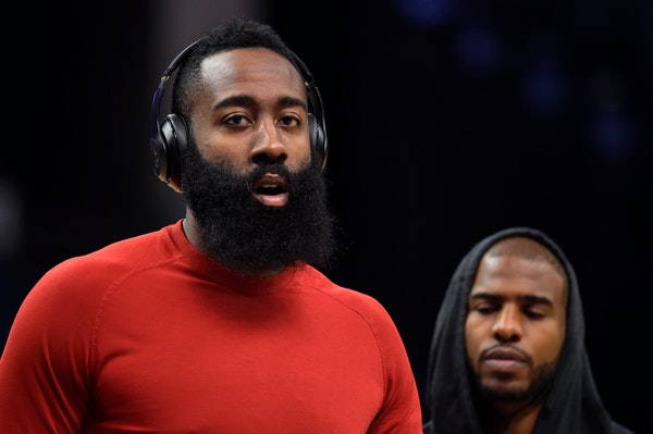 James Harden ... on the Wolves? (AP Photo/Brandon Dill)