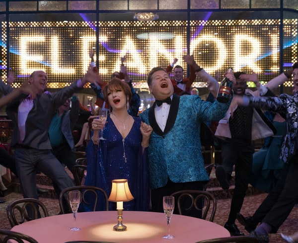 """MELINDA SUE GORDON • Netflix Above, Meryl Streep and James Corden are narcissistic  theater folk in """"The Prom."""" See more Meryl in """"Let Them Al"""