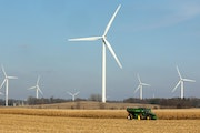 Great River Energy will use wind farms similar to this one near Alden, Minn., to produce electricity once it closes its coal plant. (ANTHONY SOUFFLE,