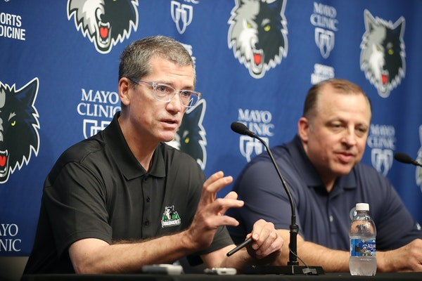 Timberwolves GM Scott Layden, left, and coach Tom Thibodeau discussed the draft during a press conference at the Courts at Mayo Clinic Square, Tuesday