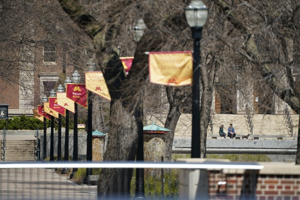 The University of Minnesota, pictured in April, is considering taking on debt to cover a budget shortfall amid the pandemic. GLEN STUBBE • glen.stub