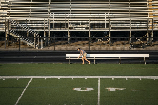 The sideline benches were sanitized between soccer games played at East Ridge High School on Aug. 27, the first day for games when fall high school sp