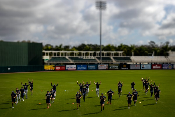Twins pitchers warmed up before a workout last March in Fort Myers, Florida