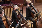 The Minnesota Orchestra's bass section during a recent livestream concert.(photo by Courtney Perry)