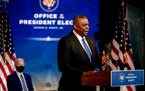 Retired Army Gen. Lloyd Austin spoke at an event Wednesday in Wilmington, Del., at which President-elect Joe Biden announced him as secretary of defen
