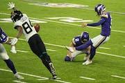 Vikings kicker Dan Bailey in Sunday's game against Jacksonville.