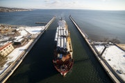 The BBC Xingang came into the Duluth Harbor in November carrying a cargo of wind turbine tower segments.With the expansion of the Clure Terminal, Dulu