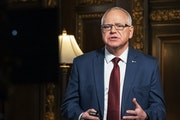 Minnesota Gov. Tim Walz speaks from the Governor's Reception room at the State Capitol, to discuss the latest steps in his response to COVID-19, on