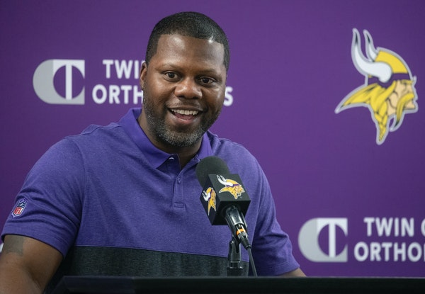 Vikings Defensive Backs Coach Daronte Jones fielded questions from the press during a press conference at TCO Performance Center, Tuesday, February 11