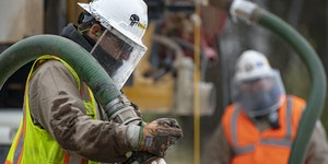 Enbridge utility contractors working on Enbridge's Line 3 replacement in Carlton, Minn.